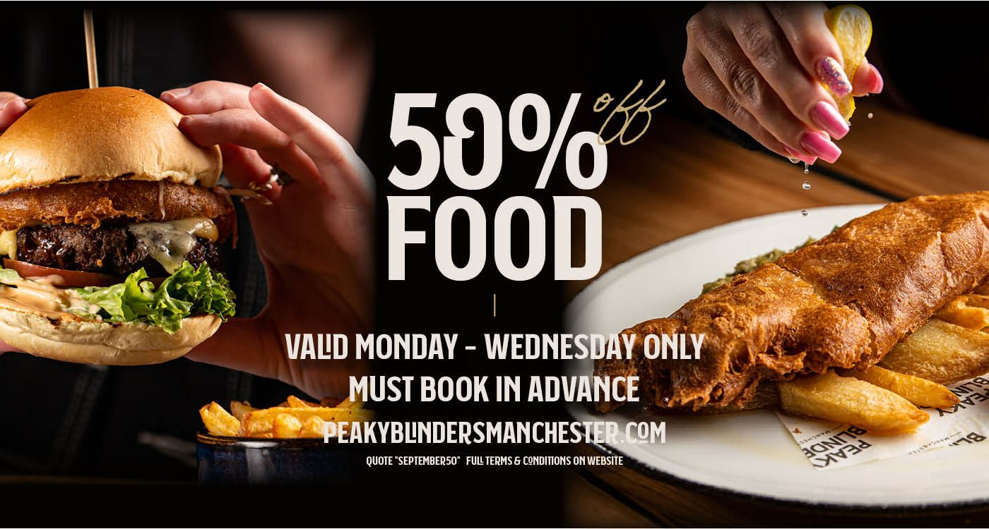 50% off food manchester peaky blinders bar & restaurant